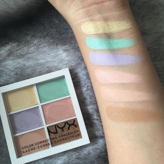 NYX Color Correcting Concealer Palette works to correct redness, dark circles, and dull skin for an even-toned complexion.   Each color should be used for certain issues (i.e. green combats redness, peach combats dark circles). Use this under concealer and/or foundation for a really freaking even skin tone.  Get it here for $11.99.
