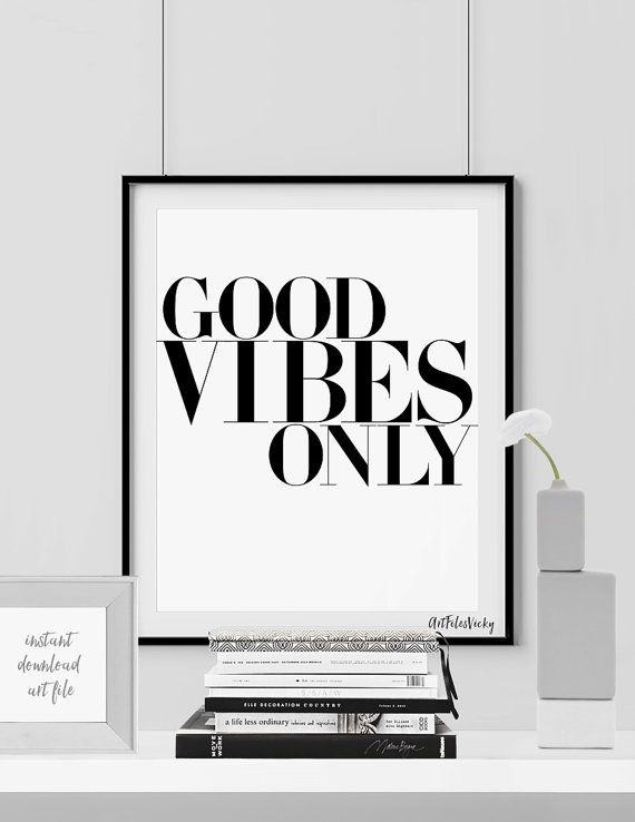 Minimalist poster Good vibes only print Quote by ArtFilesVicky
