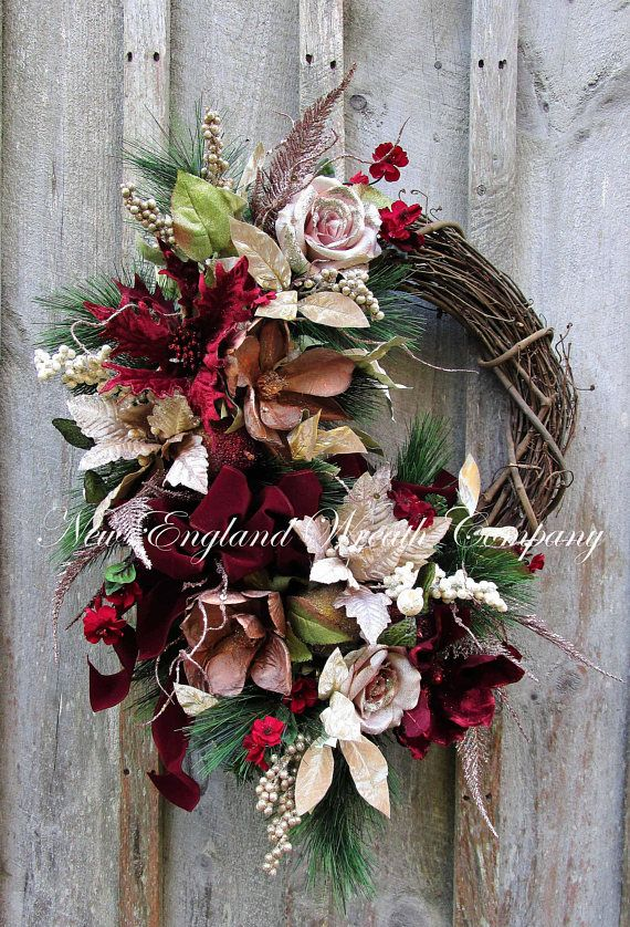 Christmas Wreath, Designer Holiday Wreath, Victorian Christmas Wreath, Elegant Holiday Wreath, Poinsettia Wreath, Burgundy Christmas Wreath Newport Victorian Holiday Wreath. Inspired by the magnificent mansions in Newport, Rhode Island, an exquisite collection of sparkling ferns and