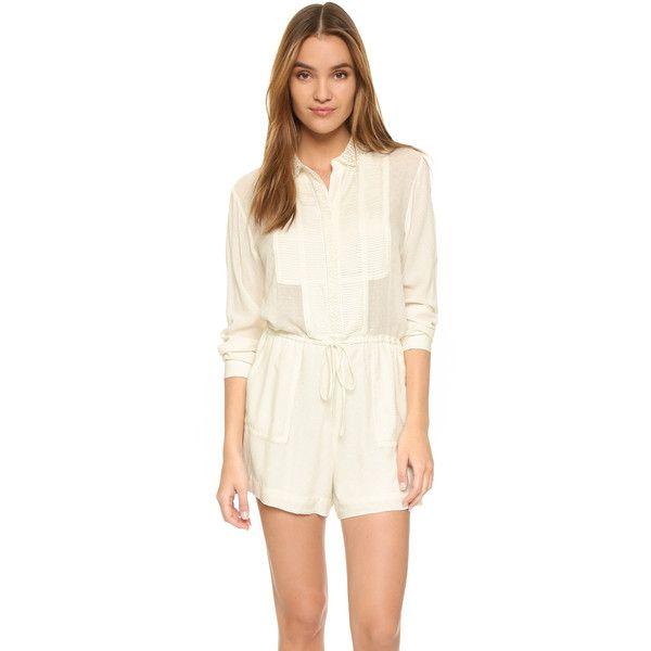 Paul & Joe Sister Gerald Jumpsuit (320 CAD) ❤ liked on Polyvore featuring jumpsuits, ecru, long sleeve jump suit, white long sleeve jumpsuit, white jumpsuit, jump suit and white jump suit
