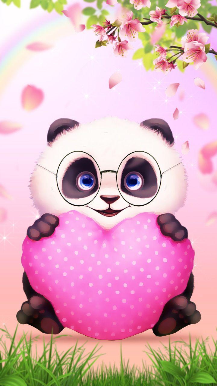Hi Panda Cute Panda Love Pink Heart Cartoon Style Wallpaper Panda Love Ilustrasi Kartun Ilustrasi Binatang