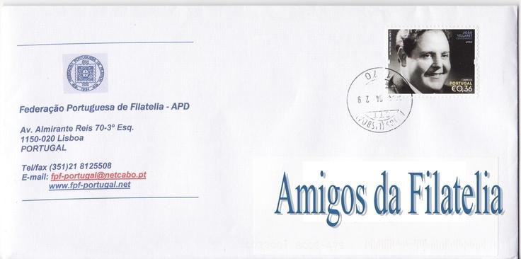 Carta circulada com selo sobre João Villaret