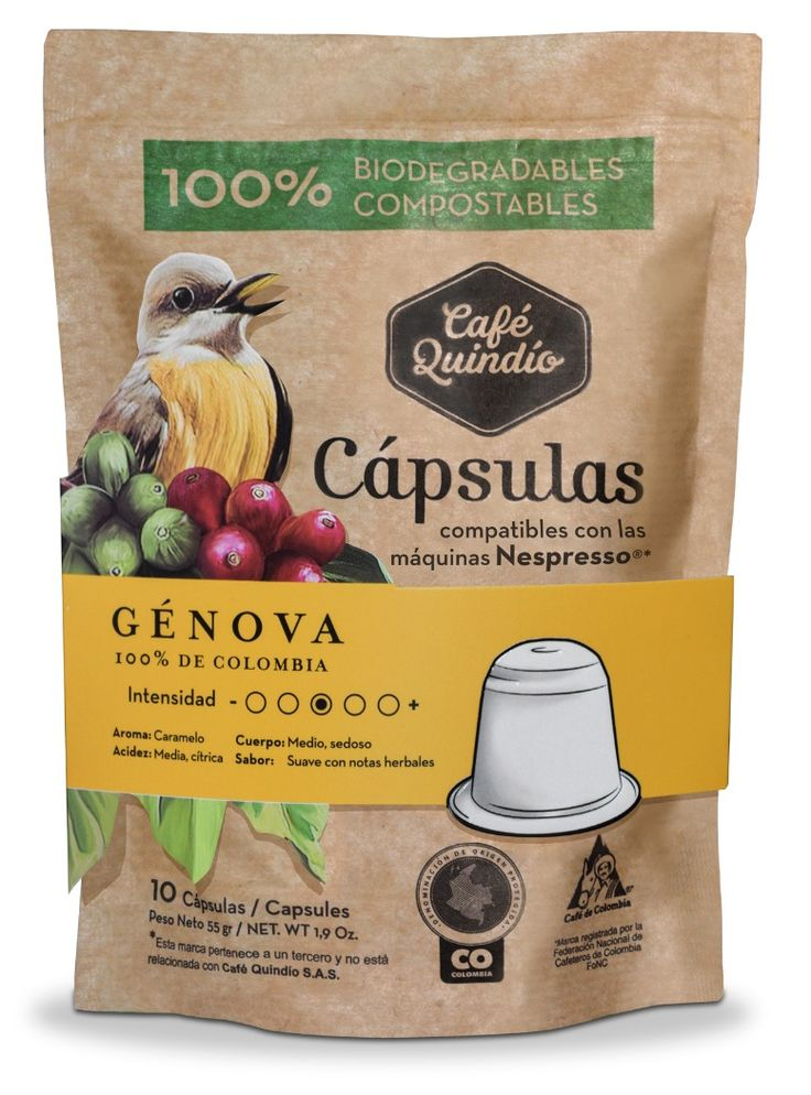 Café Quindío Génova- Coffee Capsules (Compatible with Nespresso) 100% Biodegradables.