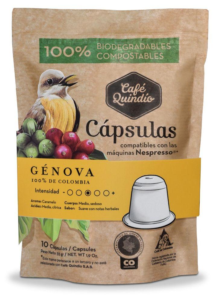 Café Quindío Génova- Coffee Capsules (Compatible with Nespresso) 100% Biodegradables.