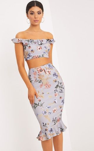 Grey Bardot Frill Printed Crop Top Look like a total dream in the floral printed crop top. F...