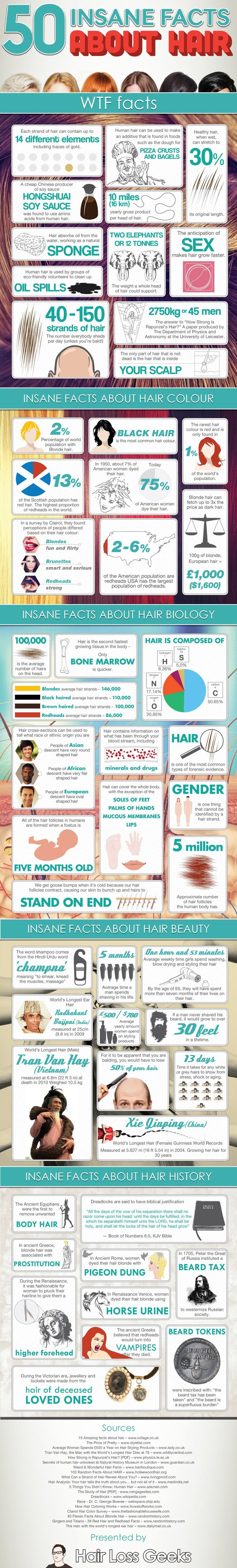 Infographic:  50 Insane Facts About Hair on WomanlyWoman.com