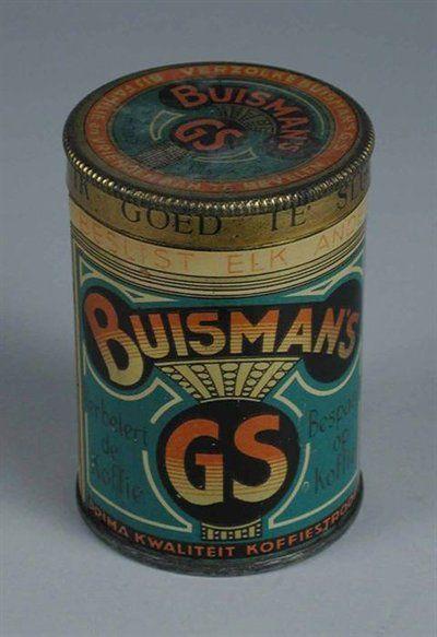 """In de koffie hoorde een schepje Buisman. Rond Buisman koffieblikje met deksel en blauw met zwart, rood en goud, merknaam """"BUISMAN"""" en gestileerde kroon"""