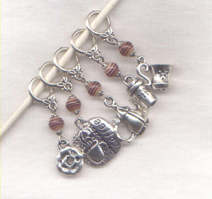 I Love Coffee Knitting Stitch Markers Cuppa Joe Java Mocha Double Theme Set of 5/SM245 from GloriaPatreSpinNKnit on Etsy Studio