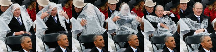 These Photos Of George Bush Struggling With A Rain Poncho Are Perhaps The Best Things To Come Out Of Inauguration Day  - HarpersBAZAAR.com