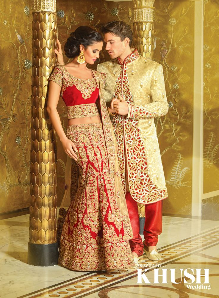 Red is perfect for any bride on her big day! we love this bride and groom piece by Unique!  Unique Wolverhampton 66-69 Dudley Road WV2 3BY +44(0)1902 452 252  Unique Bradford 1252 Leeds Road BD3 8LG +44(0)1274 661 232  Unique Bedford 79 Ford End Road MK40 4JT +44(0)1234 910 519  Makeup: Fatemah Ali Hair & Makeup Artist Hair: Shamalah  Jewellery: Fuscia Location: The Dorchester