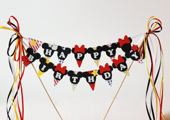 Mickey and Minnie Mouse birthday party banner Mickey and Minnie cake topper Disney birthday cake decorations ideas Clubhouse cake banner