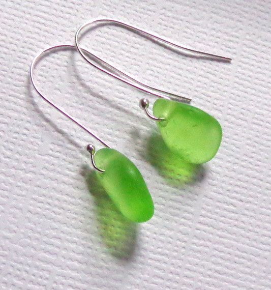 Seaglass Jewelry Tiny Green Sea Glass Earrings by Garden Leaf Design,+$18.00