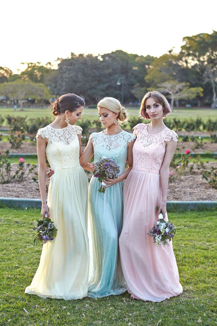 pastel pink blue and yellow lace bridesmaid dresses