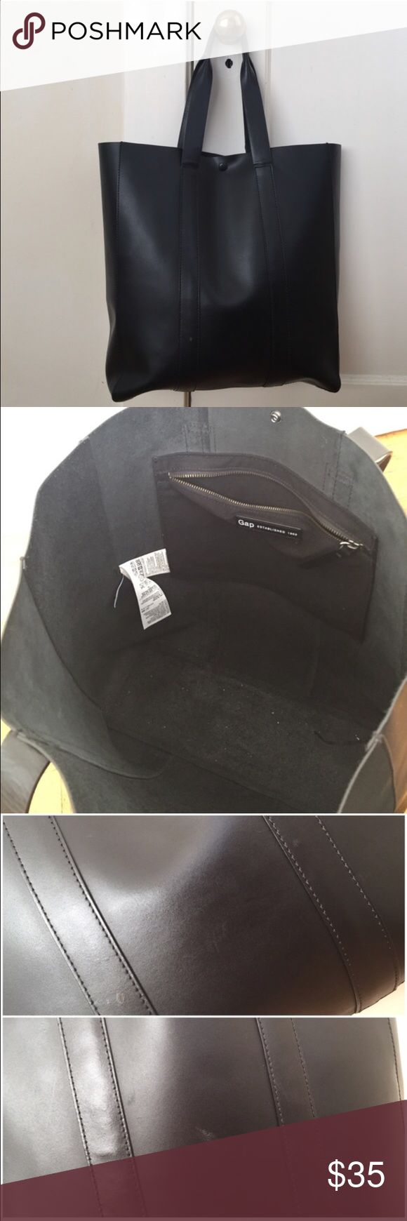 GAP sturdy black leather tote bag Repost from a cancelled sale, happy shopping! GAP Bags Totes