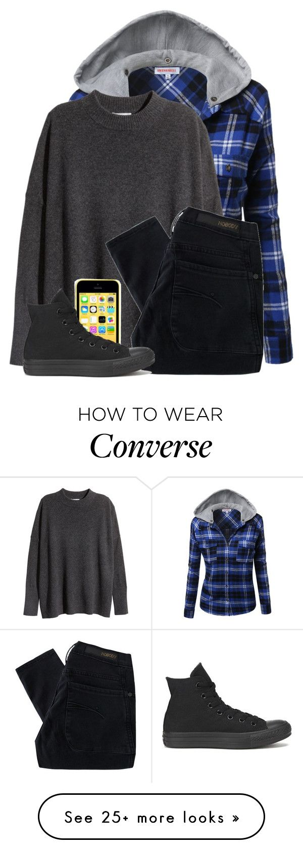 """Going Skating"" by comickid101 on Polyvore featuring H&M, Nobody Denim and Converse"