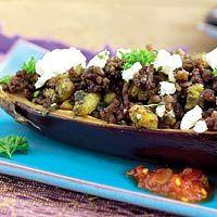 Recept - Met witte kaas en gehakt gevulde aubergine - Allerhande
