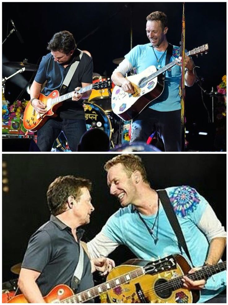 Michael J Fox -Marty McFly - joins Coldplay onstage MetLife Stadium, NJ. AHFOD Tour 2016