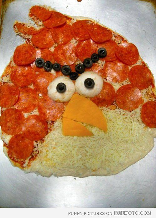 Angry pizza - Funny pizza looking like an Angry Bird -- cool food art.