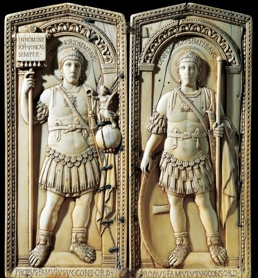 Ivory diptych of Consul Anicius Petronius Probus depicting Emperor Honorius, 406, from the Aosta Cathedral, Italy, Roman Civilization, beginning of 5th Century  Aosta,Museo del Tesoro