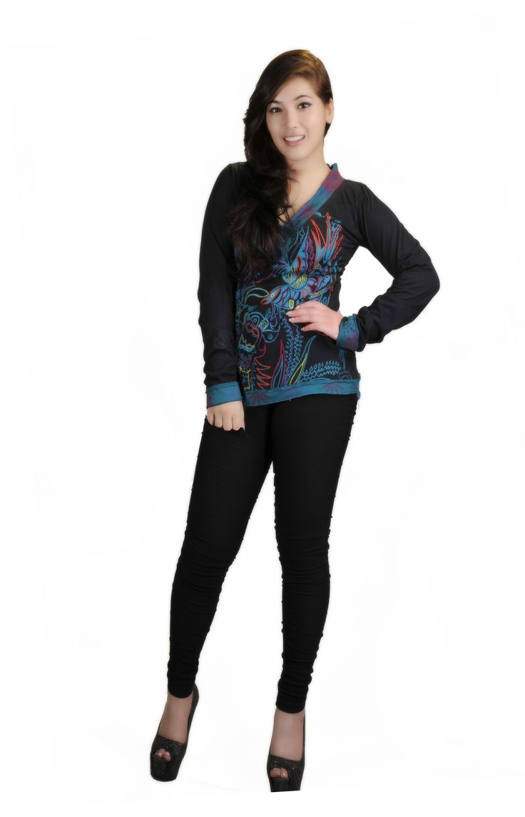 Women's Long Sleeved V- Neck Design Tops With Front Bird Embroidery!!!