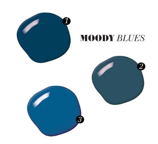 1 Indigo Cloth 4009-7, Lowe's, prices vary. 2 Stiffkey Blue 281, Farrow  Ball, prices vary. 3 Sail Away 10BB 11/350, Dulux Paint, prices va...