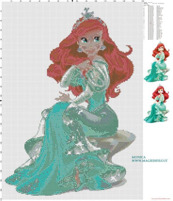 Princesa Ariel patrón punto de cruz