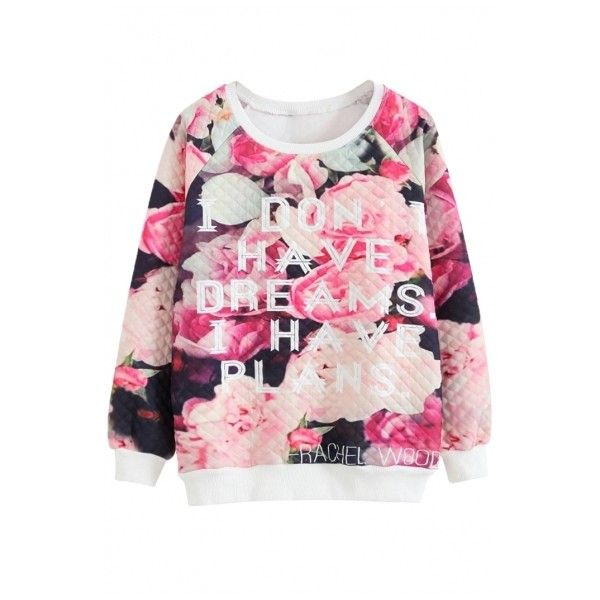 Letter Floral Print Long Sleeve Round Neck Sweatshirt ($25) ❤ liked on Polyvore featuring tops, hoodies, sweatshirts, long sleeve tops, pink sweatshirt, pink hoodie sweatshirt, floral hoodie and sweat shirts