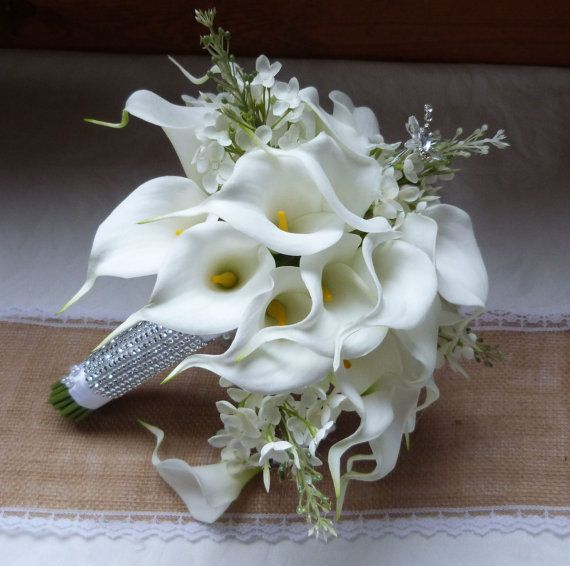 White Calla Lily Wedding Bouquet Real Touch Mini And Creme Lilac Bridal