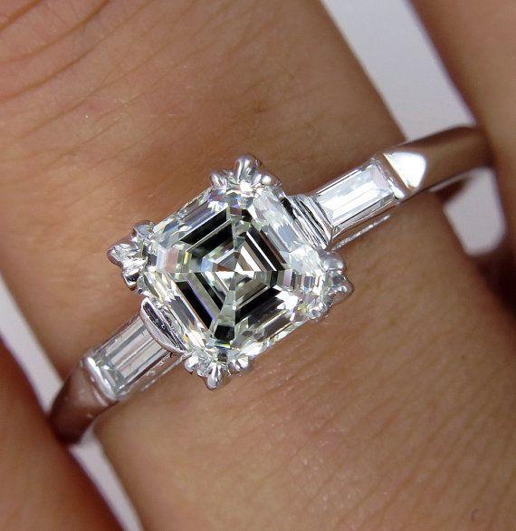 Art Deco GIA 1.16ct Antique Vintage Asscher, Square Emerald  Cut Diamond Engagement Ring in PLATINUM, Circa1920