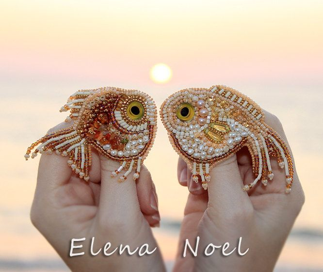 Gold fish 2 embroidered brooches. Bead Embroidery Art by ElenNoel, $240.00