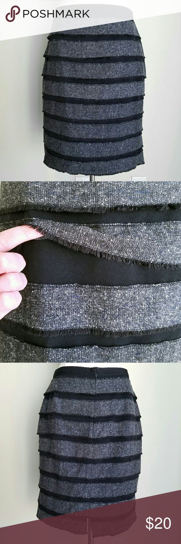 "Worthington Black & BlueDenim Layered Fringe Skirt Unique layered look in grayish blue jean/denim over dressy black fabric with slight sheen. Layers and hem have distressed fringe edges. Back zipper and hook closure. Back kickpleat slit. Full satin lining. Length (waist to hem)- 21.75"", Waist- 29"", Hip- 39"". Machine wash, tumble dry. Black- 100% polyester, Denim- 75% acrylic, 25% cotton. EXCELLENT used condition (very slight wear on waistband). Worthington Skirts Pencil"