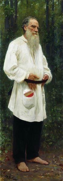 Leo Tolstoy barefoot, 1901 by Ilya Repin. Realism. portrait