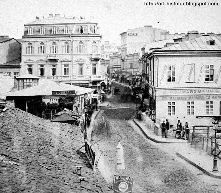 Bucuresti - Centrul vechi la 1870, privit de peste Dambovita, in lungul podului Rahova (disparut)