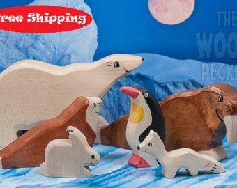 SALE! Free Shipping! Wooden Animal toys set, arctic, POLAR Set, Sea Ox, Bear, Fox, Rabbit, Bio Toy, Zoo, Toys for Kids, Gifts, Partyfavors
