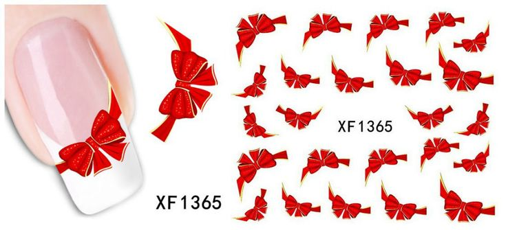 [T-XF1365]  Fancy Red Butterfly Tie Sweets Casual Nail Decals Stickers Water Mark Beauty Decorations Foils French Tips Tool