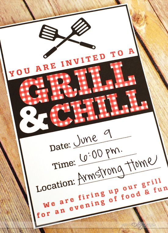 Grill and Chill- fun summer party idea. Free party downloads too (from The Dating Divas)