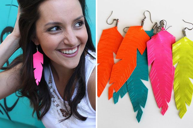 100 Ways to Repurpose Everything (Mega Roundup!) via Brit + Co. Duct tape earrings