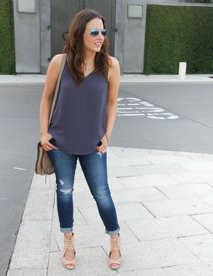 Summer Outfit | Purple Cami Top | Distressed Jeans | Lady in Violet | Houston Fashion Blogger