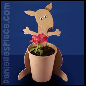 Kangaroo Craft - Cup Planter Craft from www.daniellesplace.com