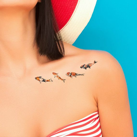 Tatuajes temporales / peces koi SET de tatuajes 4 / temporales