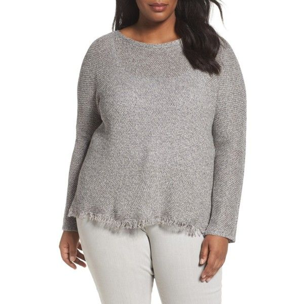 Plus Size Women's Eileen Fisher Fringe Hem Sweater ($146) ❤ liked on Polyvore featuring plus size women's fashion, plus size clothing, plus size tops, plus size sweaters, dark pearl, plus size, plus size pullover sweaters, eileen fisher tops, eileen fisher and womens plus tops