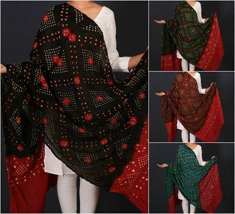 ✩ Kutch Bandhani Tie & Dye Cotton Mulmul Dupattas ✩