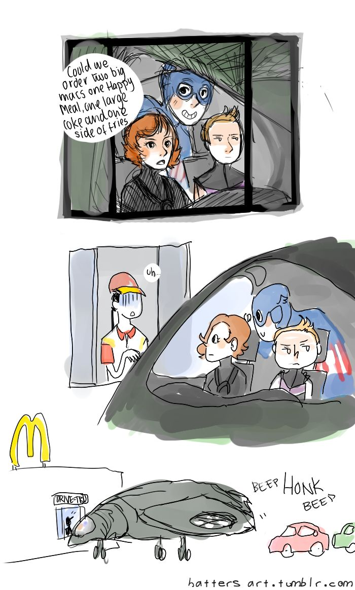 """What, you stop for drive-thru?"" 