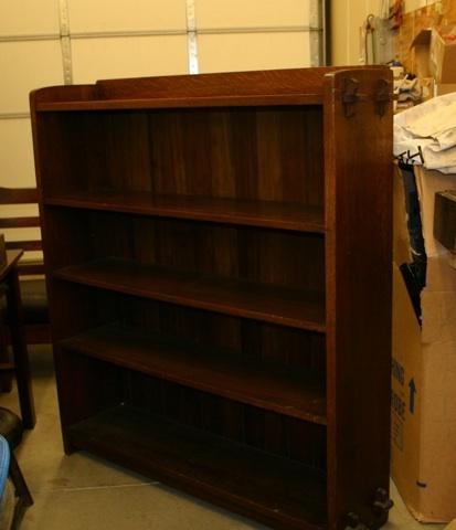 "L&JG STICKLEY BOOKCASE 55""h x 49""w. Open bookcase, signed ..."