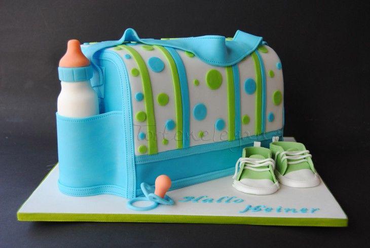 Pastel de bolsa para llevar las cosas de bebe en color azul con verde