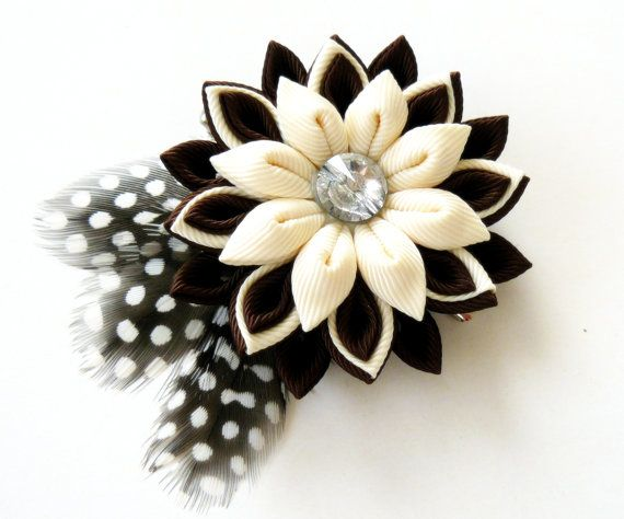 Kanzashi fabric flower hair clip with feathers. Brown and by JuLVa