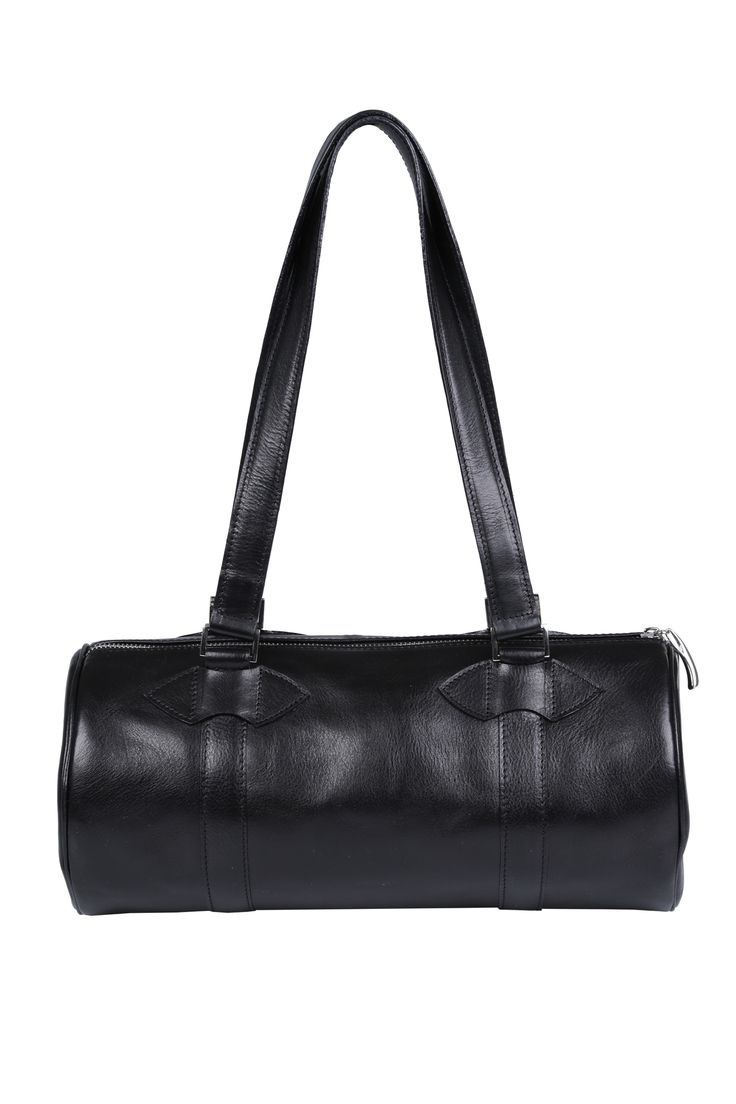#black #leather #cylinder #barrel #barrelbag