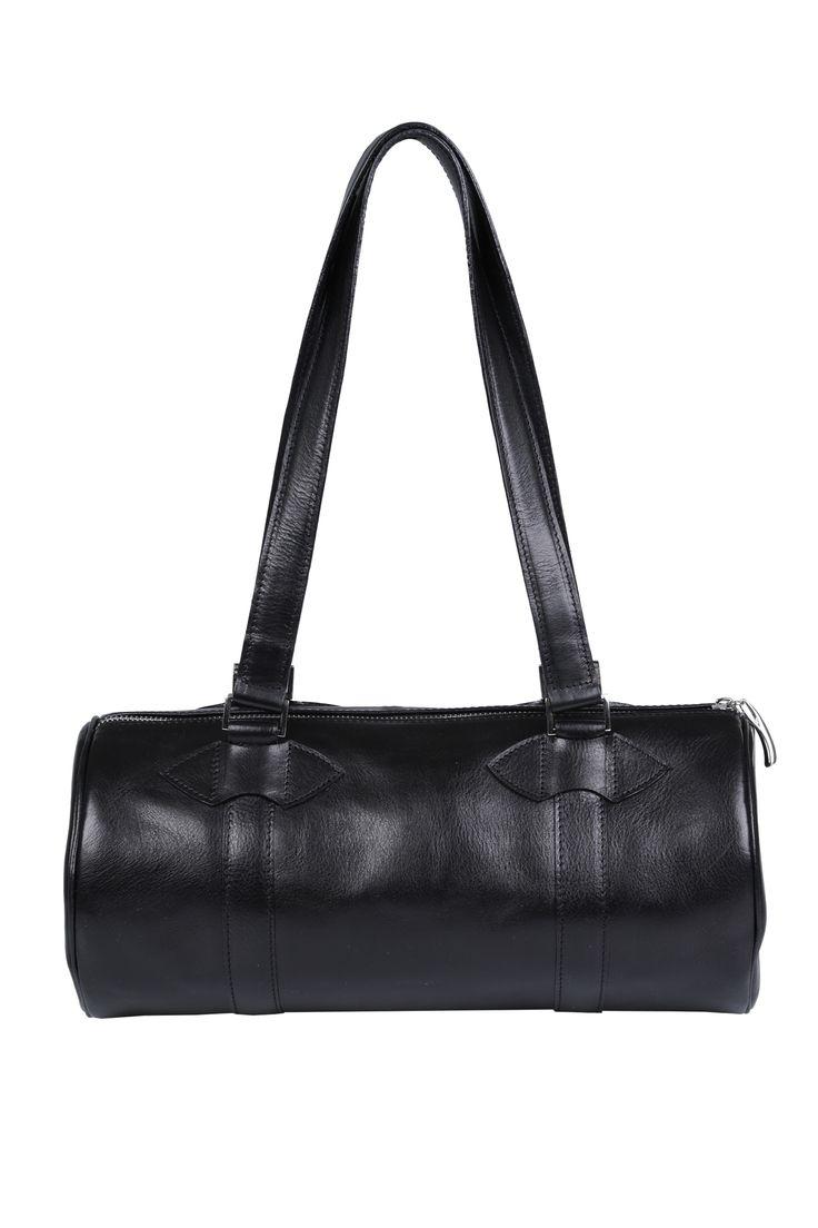 #black #leather #cylinder #barrel #barrelbag