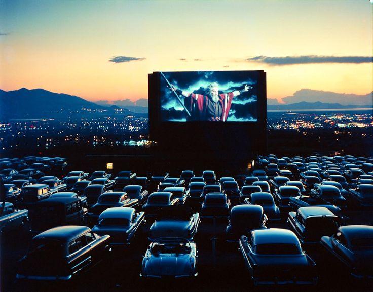 "Charlton Heston as Moses in ""The Ten Commandments,"" drive-in theater, Salt Lake City, Utah, 1958."