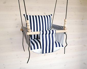 Baby Swing/Toddler Swing/ Navy White Stripes Swing/ Nursery Swing/ Indoor Swing/Outdoor Swing/ Cotton Fabric Swing/ Hammock/ Swing Kids